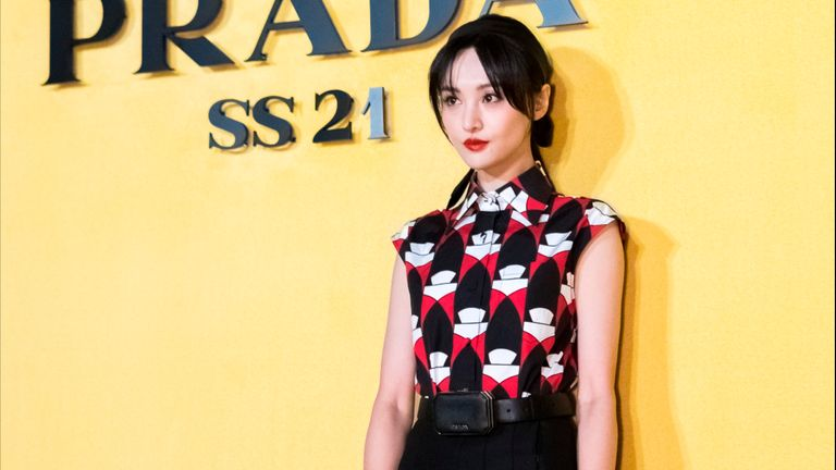 Chinese actress Zheng Shuang attends Prada activity in Shanghai, in September. Pic: Imaginechina via AP Images