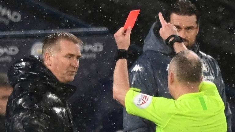 Aston Villa boss Dean Smith was sent off by referee Jon Moss for his comments made to the official after Rodri's part in Manchester City's opener