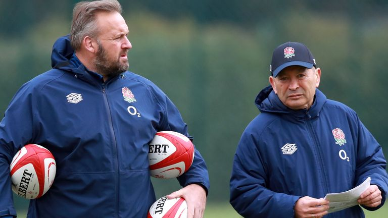 Eddie Jones (right) is self-isolating after forwards coach Matt Proudfoot (left) tested positive for coronavirus