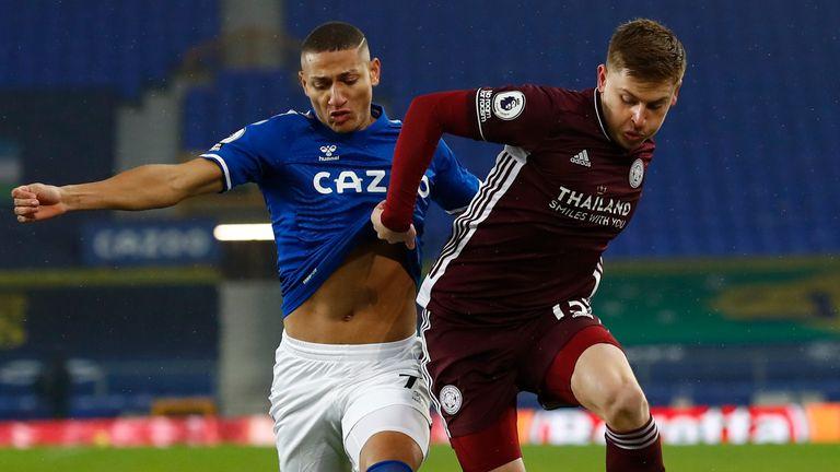 Harvey Barnes is challenged by Everton's Richarlison