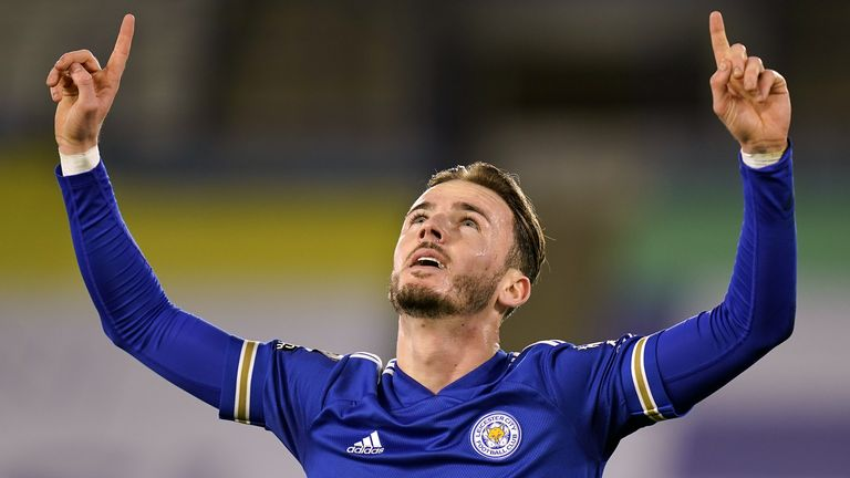 James Maddison celebrates scoring against Southampton
