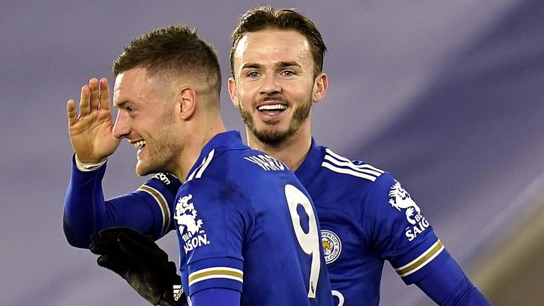 James Maddison celebrates scoring Leicester's second goal against Chelsea with Jamie Vardy