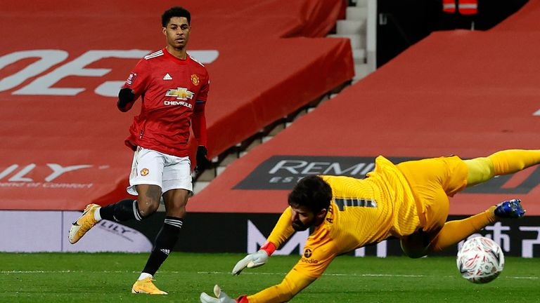 Marcus Rashford scores to put Manchester United 2-1 ahead in their FA Cup tie with Liverpool