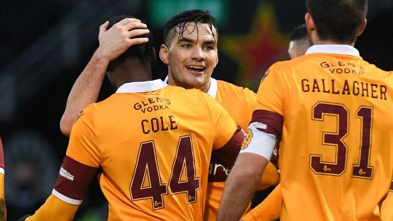 Motherwell goalscorer Devante Cole celebrates with Tony Watt after putting his side 1-0 up against St Mirren