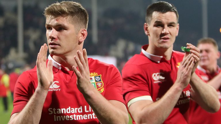 Owen Farrell and Johnny Sexton on the British & Irish Lions' tour of New Zealand in 2017