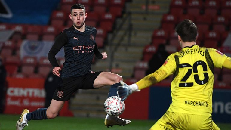 Phil Foden strokes home City's equaliser against Cheltenham