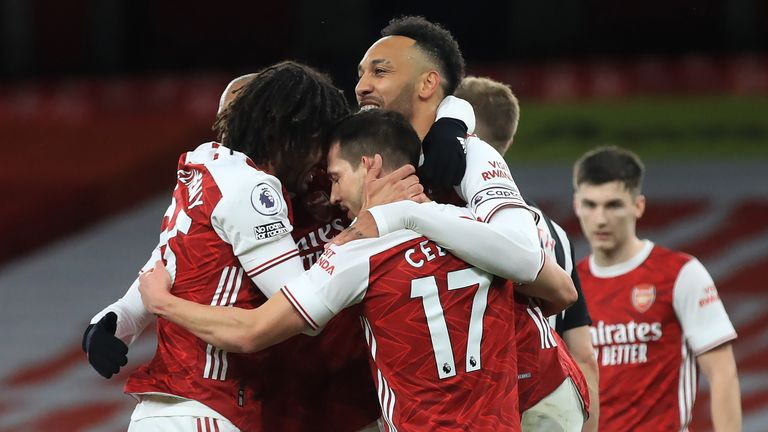 Pierre-Emerick Aubameyang scored twice in a routine Arsenal victory
