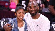 Jul 27, 2019; Kobe Bryant is pictured with his daughter Gianna at the WNBA All Star Game at Mandalay Bay Events Center. Mandatory Credit: Stephen R. Sylvanie-USA TODAY Sports