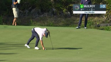 Gator watches Rory's putt, Rahm given train scare