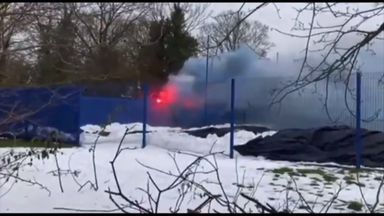 Ipswich training halted by fans flares