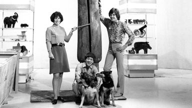 The Blue Peter presenters Valerie Singleon (left), John Noakes (centre) and Peter Purves with the Slit-gong in the BBC Studio