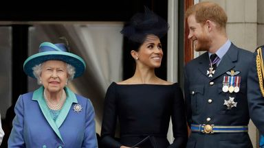 FILE - In this Tuesday, July 10, 2018 file photo Britain's Queen Elizabeth II, and Meghan the Duchess of Sussex and Prince Harry watch a flypast of Royal Air Force aircraft pass over Buckingham Palace in London. Prince Harry and Meghan Markle are to no longer use their HRH titles and will repay ..2.4 million of taxpayer's money spent on renovating their Berkshire home, Buckingham Palace announced Saturday, Jan. 18. 2020. (AP Photo/Matt Dunham, File)
