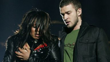 Singer Janet Jackson performs with singer Justin Timberlake during the halftime show at Super Bowl XXXVIII in Houston, Texas, in 2004
