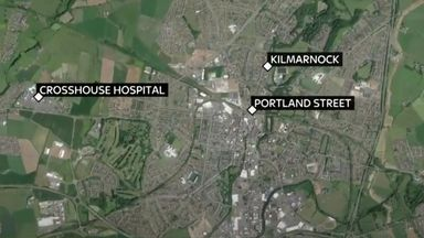 A map showing Kilmarnock and where the incidents took place