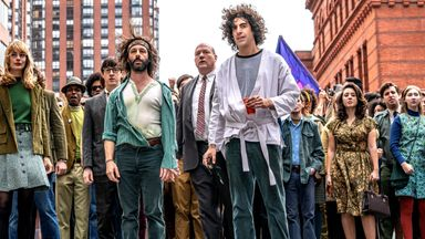 Jeremy Strong and Sacha Baron Cohen star in The Trial Of The Chicago 7. Pic: Nico Tavernise/Netflix
