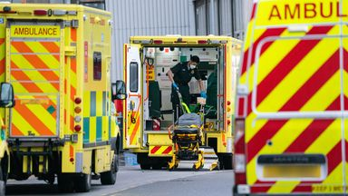 A paramedic at work in the rear of an ambulance outside the Royal London Hospital, in London, during England's third national lockdown to curb the spread of coronavirus. Picture date: Wednesday January 20, 2021.