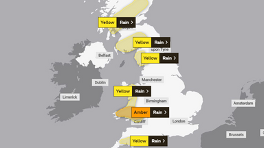 Saturday's Met Office weather warnings