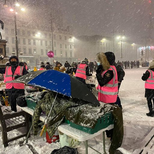 Fury over photo of 200 homeless people queuing for food amid freezing weather in Glasgow