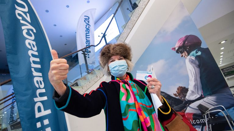 EDITORIAL USE ONLY Wendy Milbank, aged 75, from Newmarket, after receiving the Oxford/Astrazeneca vaccine at the opening of a Pharmacy2U Covid-19 vaccination centre, at the Newmarket Racecourse, Suffolk. Picture date: Saturday January 30, 2021.