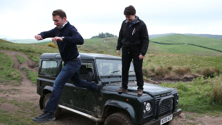 Scottish Conservative leader Ruth Davidson and the party's local candidate Luke Graham stand on the bonnet of a Land Rover Defender during a General Election campaign visit to the Perthshire off-road driving centre in Aberargie, near Perth.