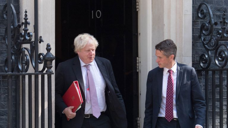 Foreign Secretary Boris Johnson and Defence Secretary Gavin Williamson leaving Downing Street, London, after attending a Cabinet meeting.