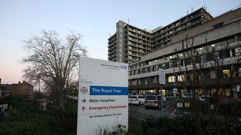 A view of the Royal Free Hospital teaching hospital in the Hampstead area of the London Borough of Camden. The hospital is part of the Royal Free London NHS Foundation Trust. PA Photo. Picture date: Thursday February 6, 2020. Photo credit should read: Jonathan Brady/PA Wire