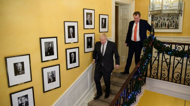 UK chief trade negotiator, David Frost (right) on the stairs of 10 Downing Street with the Prime Minister Boris Johnson after signing the EU-UK Trade and Cooperation Agreement at 10 Downing Street, Westminster.
