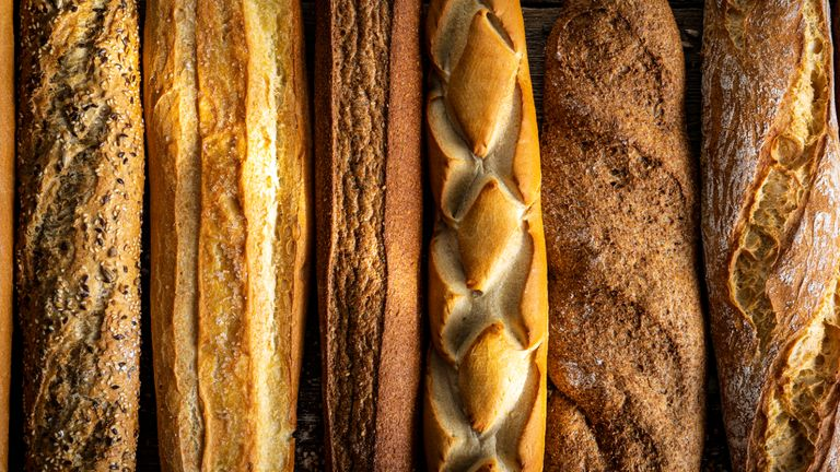 baguette bread group in a row varied assortment