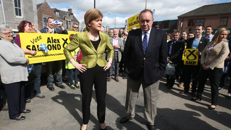 First Minister Nicola Sturgeon with Alex Salmond whilst on the General Election campaign trail in Inverurie in the Gordon constituency.