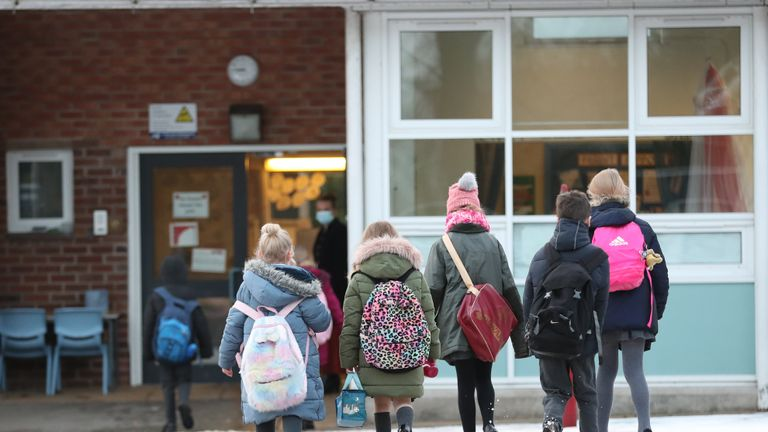 EMBARGOED TO 0001 MONDAY JANUARY 11 File photo dated 4/1/2021 of pupils arriving at Manor Park School and Nursery in Knutsford, Cheshire. Nearly half of headteachers in England have had to prioritise school places among children of key workers and vulnerable pupils due to high demand during lockdown, a survey suggests.