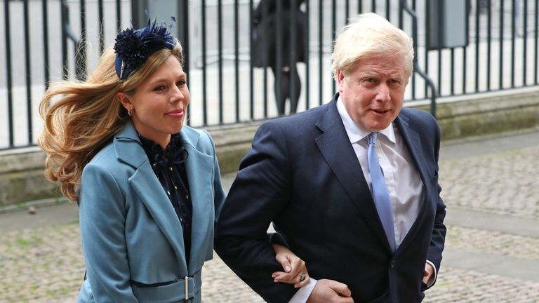Prime Minister Boris Johnson and partner Carrie Symonds arrive at the Commonwealth Service at Westminster Abbey, London on Commonwealth Day. The service is the Duke and Duchess of Sussex's final official engagement before they quit royal life.