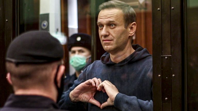 Alexei Navalny in court in Moscow. Pic: AP