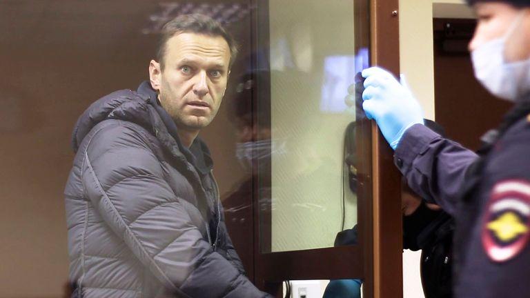 Alexei Navalny in court. Pic: AP