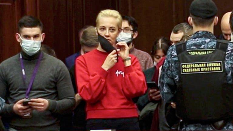 Alexei Navalny's wife Yulia in court. Pic: AP