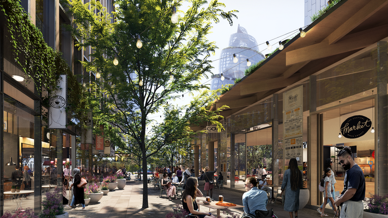 The building pikes above shops at Amazon's HQ2. Pic: NBBJ