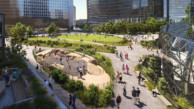 There are open spaces at the bottom of the structure. Pic: NBBJ