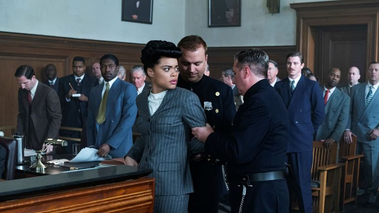 Andra Day as Billie Holiday in The United States vs Billie Holiday. Pic: Paramount Pictures Corporation/ Sky UK