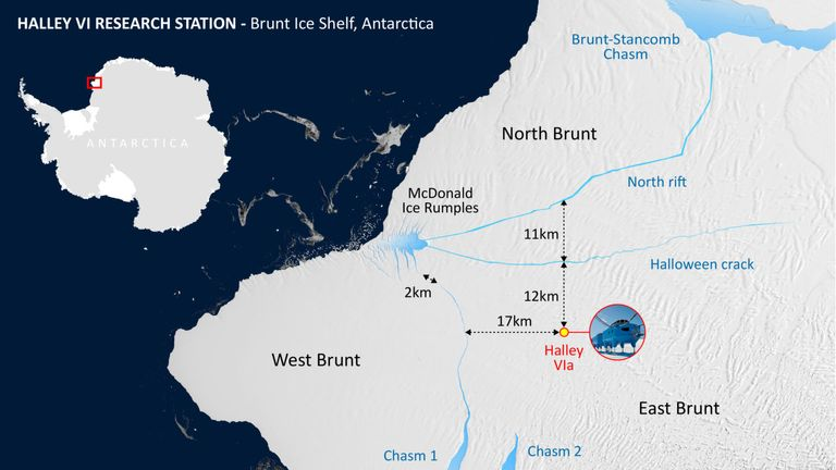 A graphic showing where the Brunt Ice Shelf is on Antarctica. Pic: British Antarctic Survey