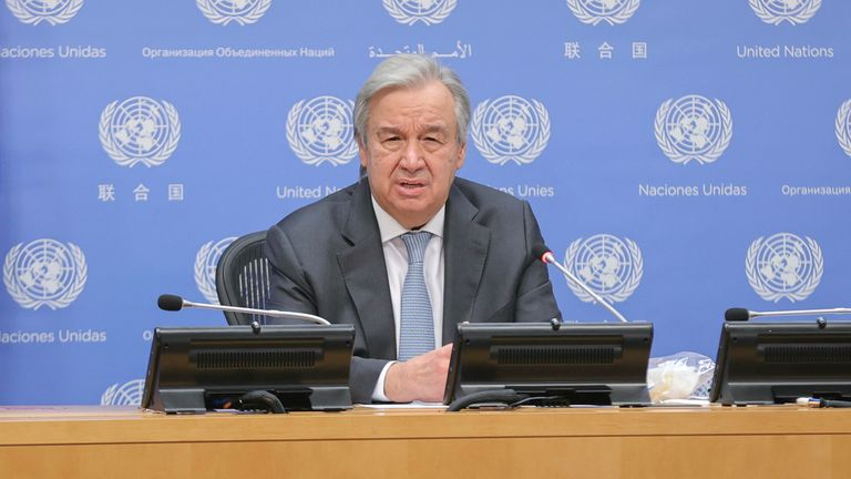 UN Secretary General has called the report a 'red alert'. Pic: AP