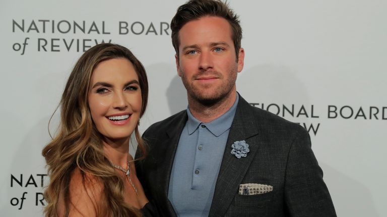 Armie Hammer and Elizabeth Chambers arrive at the National Board of Review awards gala in New York, January 2018