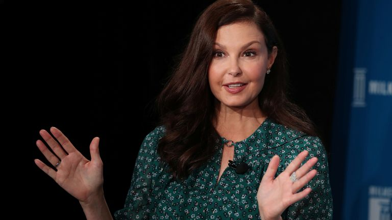 Ashley Judd speaks at the Milken Institute's 21st Global Conference in Beverly Hills, California in 2018
