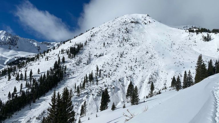 A group of seven back-country skiers were on a slope located between the towns of Silverton and Ophir. Pic: Colorado Avalanche Information Centre