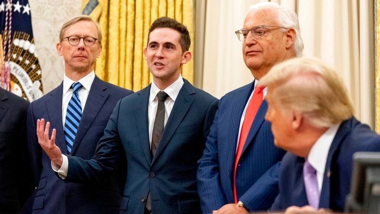 Avraham Berkowitz speaking in the Oval Office at the White House in August