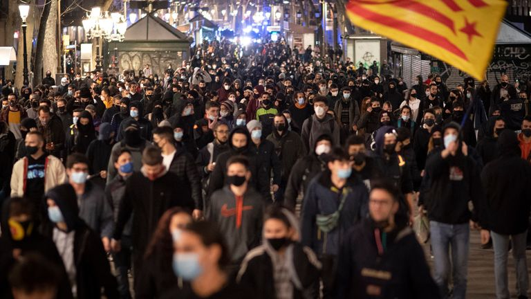 Thousands of people had taken to the streets of Barcelona