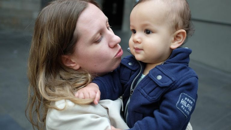 Sarah Copeland and her son