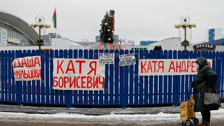 Support for arrested journalists in Minsk in December. Pic: Tut.by