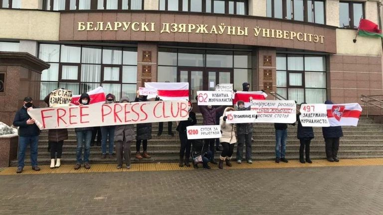 A protest in support of repressed journalists at Belarusian State University last month. Pic: @belteanews