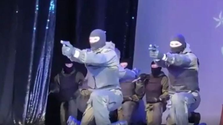 Belarusian Special Forces in a stage performance to high school students
