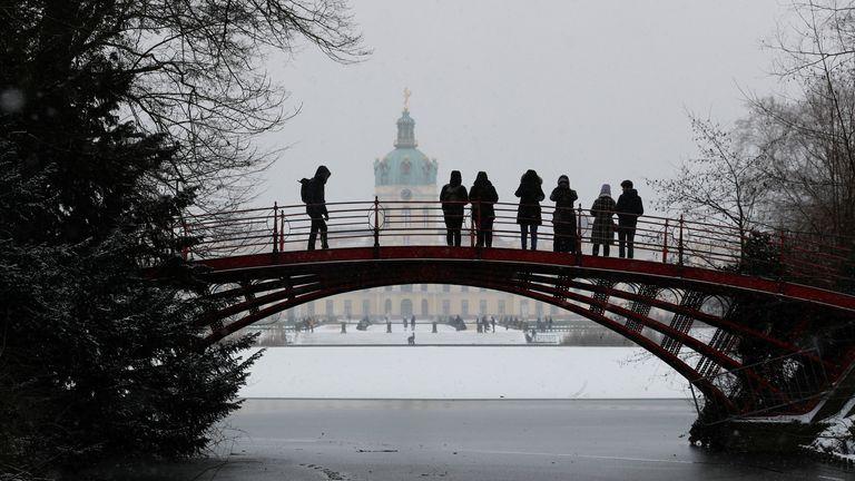 People on a bridge near Charlottenburg castle in Berlin