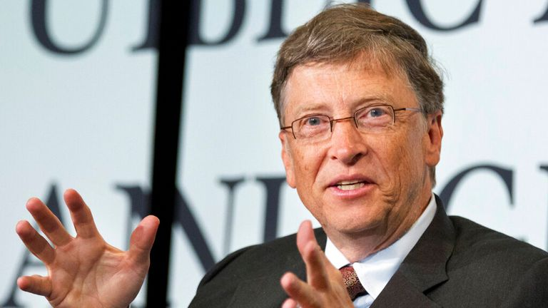 Bill and Melinda Gates Foundation Co-Chair Bill Gates gestures while speaking at a ceremony to commemorate the 150th anniversary of the Morrill Land Grant Act, Tuesday, June 26, 2012. (AP Photo/Manuel Balce Ceneta)